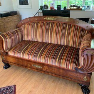 Striped Beidermeier Sofa | Reupholstery Company | John Reed & Son