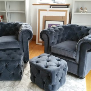 Grey Armchairs and Ottomans | Upholsterers | John Reed & Son