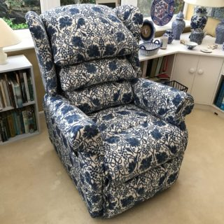 Pair of Blue and White Recliners | Chair Upholsterers | John Reed & Son
